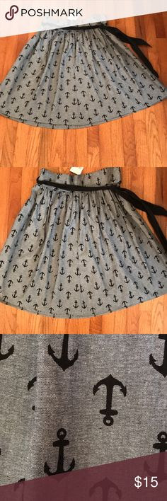 """NWT Super Cute Anchor Skirt! Super Cute NWT Anchor Skirt! Black and gray with a black cute tie around the waist. Zips in the back for an easy fit! Waist is 36"""" and it's 24.5"""" long Heartbreaker Skirts"""