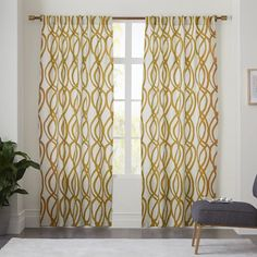 I'm drawn to the pattern or color?  Cotton Canvas Scribble Lattice Curtain - Horseradish | west elm