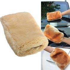 1 Stück 24x16 cm Lambswool Waschhandschuh Weichen Schaffell Auto Reinigung Handschuh