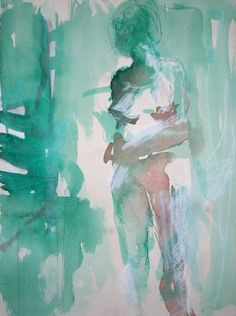 Watercolor - abstract expressionist painting of a female nude figure. An Underwater Thing - shealeigh.etsy.com