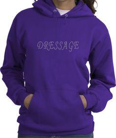 Dressage Sparkling Rhinestones Horse Riders Purple Hooded Sweatshirt - Charlie Horse Apparel