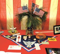 (like some details here) Eagle Scouts - use an extra neckerchief on a table.