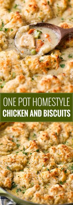 Homestyle Chicken and Biscuits ~ this Midwestern and Southern comfort food recipe is made of savory chicken in a rich cream sauce with vegetables, topped with fluffy Parmesan cheese drop biscuits, and baked until bubbly!