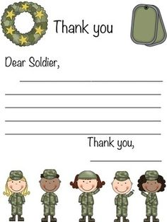 Military Letter of Appreciation Writing Prompt! {Will enclose this in our of July Soldier Care Package} Also optional for Veterans Day! Scout Activities, Writing Activities, Military Letters, Military Crafts, Teaching Writing, Writing Prompts, Adopt A Soldier, Soldier Care Packages, Remembrance Day