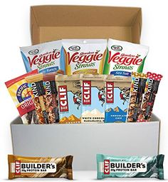 Healthy Snacks Basket  Snack Bars Care Package Gift Box Variety Pack  Quick To Go  Marathon Runner Gifts  Packed with Protein and Low Sugar Healthy Variety Box ** Visit the image link more details. (Note:Amazon affiliate link)