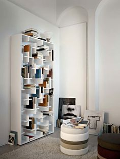 """:: FURNITURE :: SHELVING :: love the concept of storage as wall art, lovely design concept by arketipo italy 