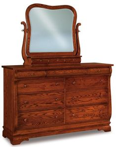 Amish Chippewa Sleigh Nine Drawer Dresser with Optional Mirror Attractive wood dresser built with solid wood. Lots of storage in the Chippewa. Custom build yours in the wood and stain you like best. #dressers #bedroomstorage