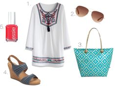 Pretty Fix: The May List    1. Embroidered Tunic 2. Aviator Sunglasses 3. Printed Tote  4. Denim Wedges 5. Coral Nail Color #prettyfix #easyoutfits #prettystyle #getyourprettyon