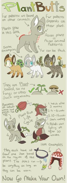 PlantButts_Open Species by why-so-cirrus on DeviantArt Creature Drawings, Animal Drawings, Cute Drawings, Creature Design, Furry Art, Mythical Creatures, Drawing Reference, Art Tutorials, Cute Art