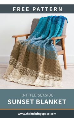 Delight in the cool and comforting look of this Knitted Seaside Sunset Blanket, a fantastic home decor that will give your space a chill, seaside-inspired vibe. In fact, this must-have home decor makes for a lovely gift idea for new home owners. It's easy to knit, too! | Discover over 5,500 free knitting patterns at theknittingspace.com Knitting Patterns Free, Free Knitting, Stitch Patterns, Summer Knitting, Caron One Pound Yarn, Aran Weight Yarn, How To Purl Knit, Knitted Blankets, Crochet Throws