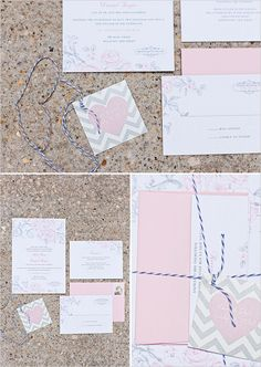 pink and gray wedding invites