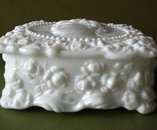 Vintage Fostoria Milk Glass Jenny Lind Handkerchief Box