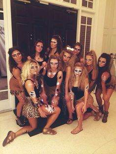Being in college, you have enough to worry about besides having to think up one, two, or potentially three Halloween costumes. Unique Halloween Costumes, Easy Costumes, Halloween Hair, Halloween Outfits, Costumes For Women, Costume Ideas, Cheetah Halloween Costume, Halloween Costumes College Sorority, Sorority Costumes