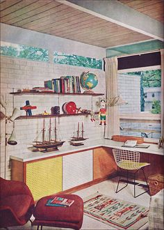wood ceiling, white brick walls, peg board doors and Bertoia chair,1960 via Better Homes and Gardens
