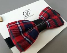 Tartan bow tie. Checked bowtie. Red and black. by ditasboutique