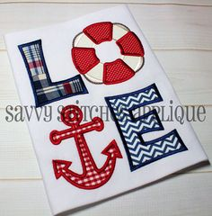 Nautical Love Machine Embroidery Applique by SavvyStitchesDesigns