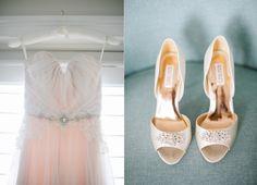Blush Alvina Valenta Spring 2016 Wedding Dress and Glamourous Gold Badgley Mischka Shoes for an Elegant Costal Wedding: Lisa & Steve