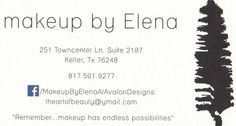 Back of business card. Makeup Artist: Elena Martinez. Keller, Texas