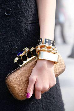 Paris Street Style - ELLE. Fabulous Alexander McQueen clutch. Details In Streetstyle