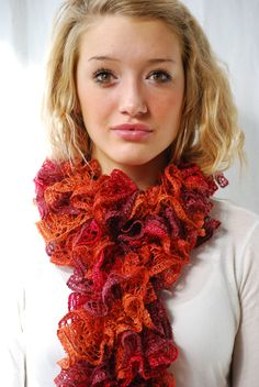 Hot Orange Red and Burgundy Ruffled Scarf Hand knit by AquaLumen, $30.00
