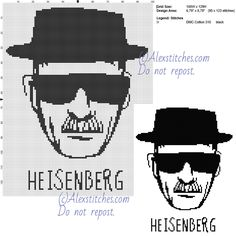 Heisenberg Breaking Bad free cross stitch pattern 100x129 1 color
