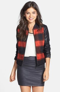 Collection B Plaid Baseball Jacket (Juniors) available at #Nordstrom