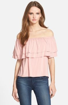 Free shipping and returns on Rebecca Minkoff 'Dev' Off the Shoulder Top at Nordstrom.com. Layered ruffle overlays edge the elasticized, off-the-shoulder neckline of a lightweight top finished with a rounded shirttail hem.