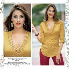 Blouse Desings, Denim Fashion, Womens Fashion, Church Fashion, Fancy Tops, Smart Dress, Tunic Blouse, Blouse Styles, Dress Patterns