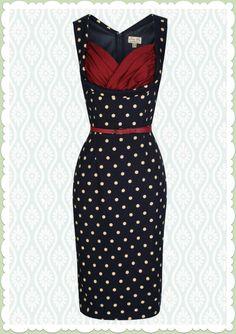 Lindy Bop 50er Jahre Rockabilly Etui Punkte Kleid - Vanessa - Navy Blau
