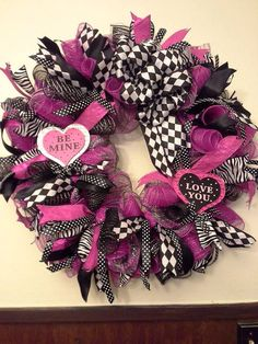 Valentine's Day pink, black deco mesh ribbon wreath small heart wooden sign Be Mine Love You.