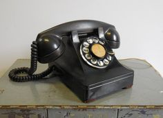 Vintage Black Rotary phone Western Electric Bell by SalvageRelics