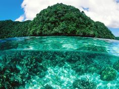 Palau Islands offer beautiful, white, sandy beaches and dense tropical forests, hidden cave and tunnels The smaller islands are coral origin, while the larger volcanic island are surrounded by coral reefs.
