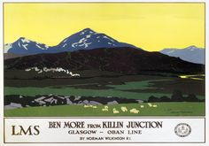 Ben More from Killin Junction. LMS Vintage Travel Poster by Norman Wilkinson16 Train Posters, Railway Posters, Train Map, Train Travel, Norman, Europe Train, England And Scotland, Oban Scotland, England Uk