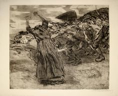 ケーテ・コルヴィッツ (連作『農民戦争』より)『勃発』(1902)Käthe Kollwitz - Losbruch (Zylkus Bauernkrieg)