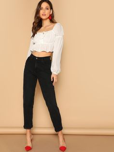 ae84e399e6a5ec SheIn Vacation Ruffle Plain Top Regular Fit Off the Shoulder Long Sleeve  Pullovers White Crop Length Off Shoulder Puff Sleeve Boho Crop Blouse