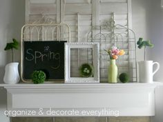 Great spring mantel...love the birdnest in an otherwise empty frame!