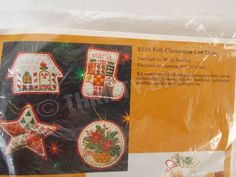 Vintage Creative Circle ACOC 2110 Felt Christmas Cut  Outs 4 Piece Ornament Kit #CreativeCircle