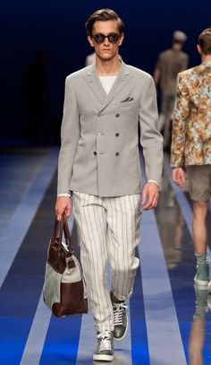 Love how Canali mixed things up. Double breasted jacket with sneakers? Yes please.