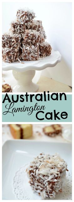 Learn how to make Australian Lamington Cake. Perfect with coffee and tea. This tasty treat starts with creamy chocolate frosting sandwiched between two thick layers of vanilla sponge cake, which are dipped in chocolate and topped with coconut. Australian Cake Recipe, Australian Desserts, Australian Food, Australian Recipes, Yummy Treats, Delicious Desserts, Sweet Treats, Yummy Food, Tasty