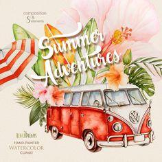 Such pretty watercolor surf clip art and VW bus vans! Retro Bus, Vw Bus, Car Volkswagen, Vw Camper, Combi Ww, Vintage Surfboards, Summer Clipart, Vw Vintage, Watercolor Images