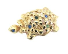 Vintage 1970's Avon Turtle Brooch, Animal Brooch, Gold Turtle Pin