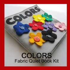 Cover of colour book - all the flowers unbutton and have a matching coloured button idea