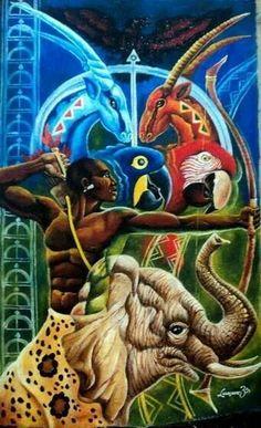 Oxóssi (Òsóòsi) é o deus caçador, senhor da floresta e de todos os seres que nela habitam, orixá da fartura e da riqueza.// Oxóssi (Òsóòsì) is the hunter god, lord of the forest and all the beings that inhabit it, Orisha of abundance and wealth.