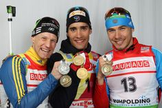Carl Johan Bergman, Martin Fourcade and Anton Shipulin; medallists in Men's Pursuit on March 4, 2012 in Ruhpolding.