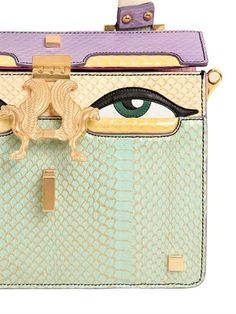 "giancarlo petriglia - 女士 - 手提包 - 迷你""peggy eyes""锦蛇皮&皮革手提包"
