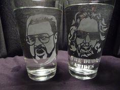 Big Lebowski 16 oz Glasses Set of 2 by geekyglassware on Etsy, $18.00