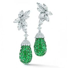 Platinum, Emerald and Diamond Earrings by Oscar Heyman