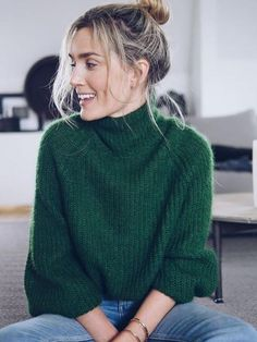 Emerald green, fall, sweater