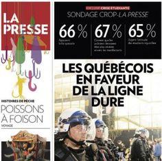 Québec : Manipulation sondagière en Une de La Presse - Acrimed | Action Critique Médias Critique, Peanuts Comics, Articles, Action, Wrestling, Group Action