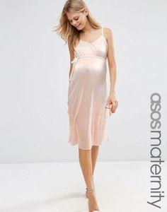 ASOS Maternity Cami Dress In Metallic With Pleats